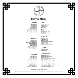 Blind Dragon Bottle Service Menu